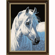 5d diy diamond mosaic diamond embroidery Christmas gfit diamond painting white horse animal pictures home decor new year gift(China)