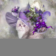 DIY Rhinestone plastic crafts painting diamond Purple cat crystal Square  diamond painting cross stitch full diamond embroidery