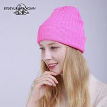 BINGYUANHAOXUAN Fashion Warm Solid Color Beanie Hat Bonnet Cap Knitted Skullies & Beanies Gorros Bonnet Femme Stocking Hats