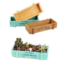 Garden products rectangle decorative small mini wooden floor standing flower pot planter flowers set nursery pots planters box