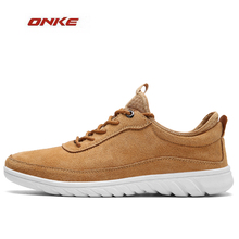 2017 ONKE New Arrival Men City Jogging Daily Lifestyle Sneaker Solid Colors Brown Color Male Spring Autumn Footwear On Discount(China)