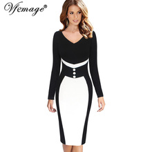Vfemage Women Elegant V Neck Colorblock Contrast Patchwork Long Sleeve Slim Work Office Business Party Bodycon Sheath Dress 8310(China)
