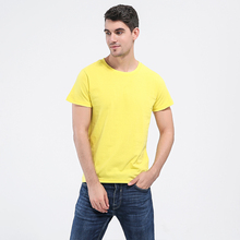 Buy o-neck high Cotton T-shirt yellow t shirt solid color street casual Slim fashion men t shirt Short Sleeve T Shirt for $8.66 in AliExpress store