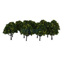 20pcs Model Train Green/Pink/ Yellow Fruit Trees Garden Street Layout Scale 1/100 6CM(China)