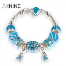 AENINE European Style Sky Blue Two Bears Charm Bracelets For Women With Blue Murano Glass Beads Bracelet Jewelry PABR028