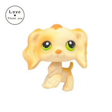 SPANIEL style Childrens Collection of figure lovely dog Rare LPS pet toy Kids gift Light yellow dog with green eyes #347