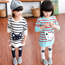 2017 Spring Fall Little Girls Fashion Cartoon Cat Striped Sweater Suit Children Clothing Set Baby Kids Tops+ Leggings 2 Pcs G536