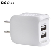 Colohas USA US Plug Charger Dual USB Ports Travel Home Wall AC Charger For iPhone 7 5 4S iPad 2 3 4 Tablet Samsung Galaxy S7 S8