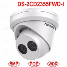 DS-2CD2355FWD-I 5 MP Network Turret Camera WDR WNR POE IP Network CCTV Indoor Camera Support on-board storage up to 128 GB IR 30