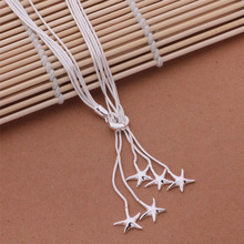 Fashion Elegant Ladies Necklace 925 Starfish Pendant Long Necklace Mulit Chain Silver Plated Jewelry Loving Gift AN443