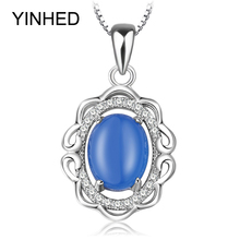 YINHED 100% 925 Sterling Silver Necklaces Pendants Blue Chalcedony Micro Pave Zircon CZ Pendant Necklace for Women Jewelry ZN253