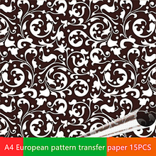 15PCS chocolate paper decoration baking paper cakes border decoration transfer sheet European texture A4 size