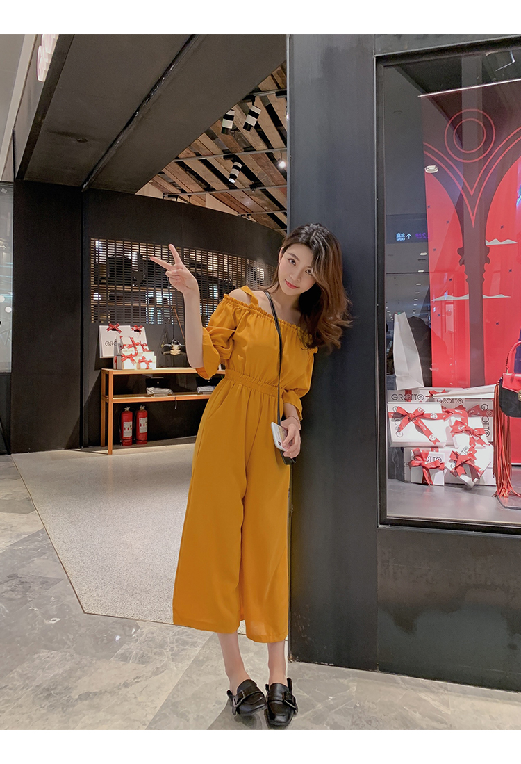 Women's Clothing 2019 Summer New Sexy Bohemian Style Spaghetti Strap Helf Sleeve High Waist Sling Long Beach Wide Leg Jumpsuit 19 Online shopping Bangladesh