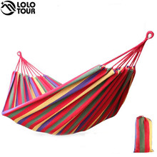240*150cm 2 Person Hammock hamac outdoor Leisure bed hanging bed double sleeping canvas swing hammock camping hunting 3 Color(China)