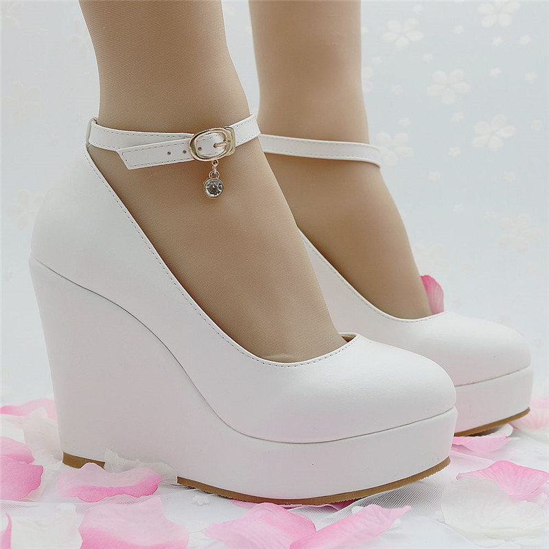 Women Wedges Shoes Buckle Strap Sweet Fashion Women Pumps Abnormal Heels Wedges Round Toe Top Quality Pu Leather Wedding Shoes<br><br>Aliexpress