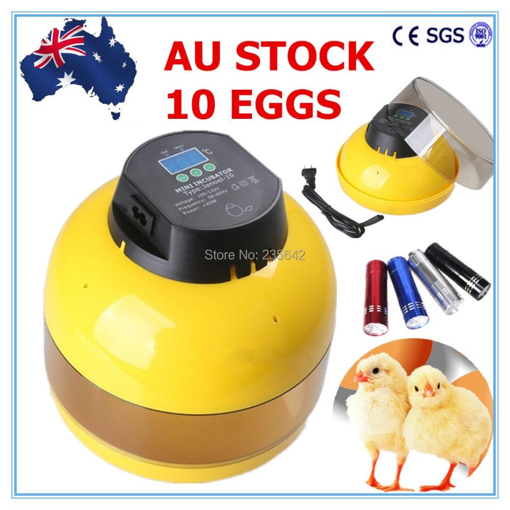AU Stock Digital 10 Chicken Eggs Semi Automatic Incubator Hen Bird Duck Poultry + Candler<br>