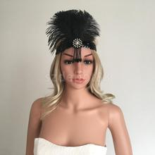 Vintage Woman Elastic Flapper Feather Headband 20s Gatsby Charleston Rhinestone Headwear Fascinator Hair Accessories