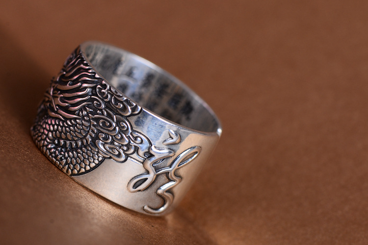 Buddhist Real 999 Pure Silver Biker Rings With Flying Dragon