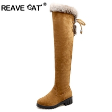 REAVE CAT Cotton Winter Snow women Thigh high boots Suede Low heels Over the knee boots Tassel Fur Zipper Winter boots Warm A118
