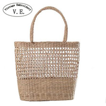 Women Straw Bag Handmade Braided Ladies Holiday Beach Handbags Indian Thai Travel Woven Bohemian Shopping Bag(China)