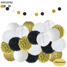 HAOCHU 22pcs/set Mix Size Gold White Paper Lanterns Wedding Decor Glitter Round Paper Garland Bunting For Home Party Supplies