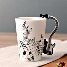 1pc Novelty Guitar Ceramic Cup Personality Music Note Milk Juice Lemon Mug Coffee Tea Cup Office Drinkware Unique Gift 210ml(China)