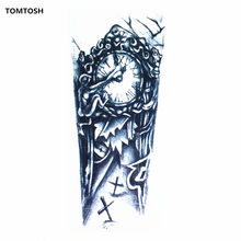 TOMTOSH Black 3D Sexy Fake Transfer Tattoo Chest Clock Men Temporary Large Robot Tattoo Stickers(China)