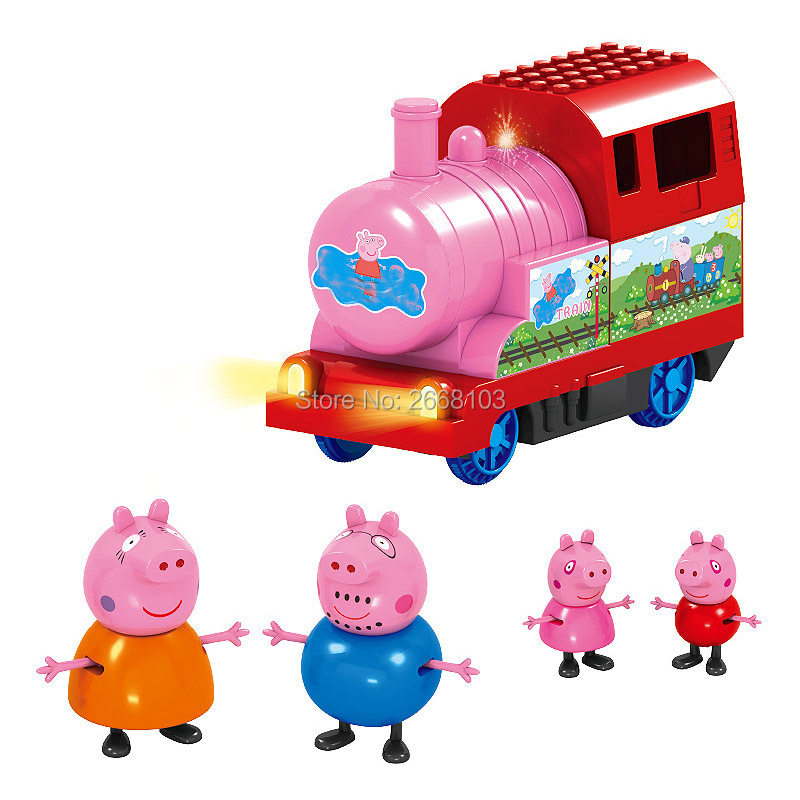 5PCS/Lot Free Shipping Pink Pig Train Family Cartoon Toys Bricks Gifts Early Education Children Sets Animal Model Birthday Party(China (Mainland))