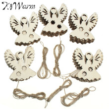 50pcs/lot 63mm Blank Unfinished Wood Angel Rustic Tags Christmas Ornaments with Free Strings Scrapbooking Embellishments Decor(China)