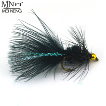 MNFT 10PCS 8# Black Woolly Bugger Black Color with Flashabou Crystal Decorated Tail Fly Fishing Lure Streamer Bead Golden Head