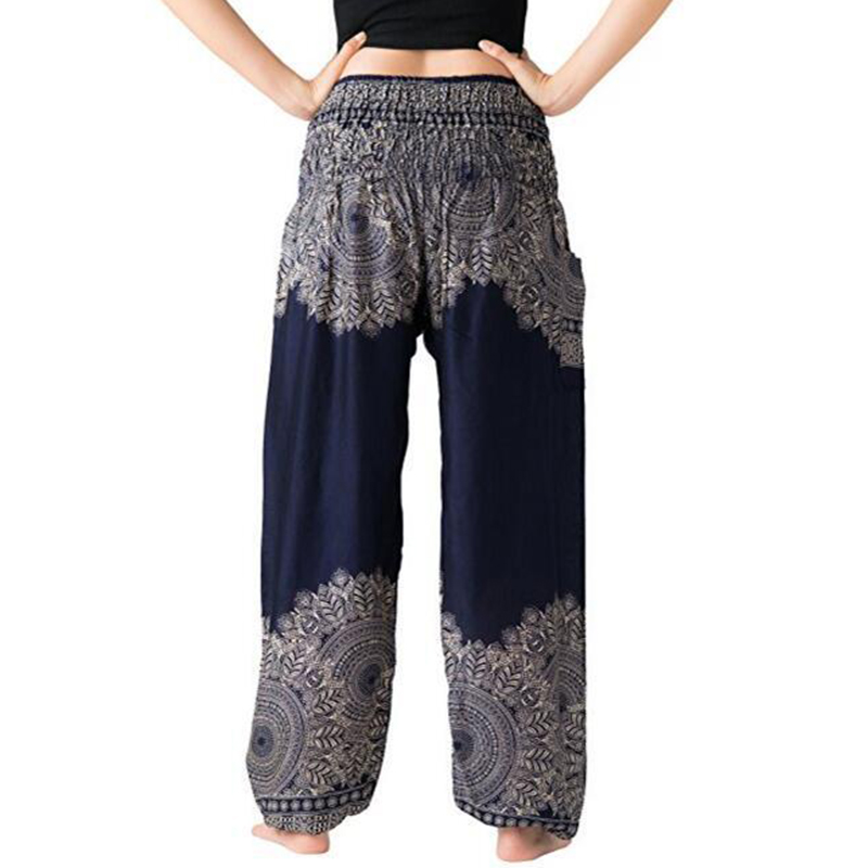 New Boho Women Lantern Pants Comfy Indie Folk Harem Pants Boho Baggy Hippie Elastic Waist Female Loose Trousers Cotton Holiday
