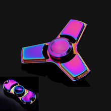 2 Style Colorful Funny EDC Tri-Spinner Fidget Toys Hand Spinner Metal Fidget Spinner and ADHD Adults Children Educational Toys