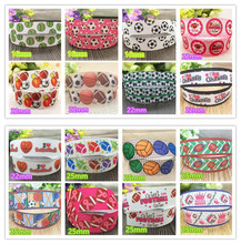 New Arrival softball football basketball printed Grosgrain Ribbon sports Ribbon hairbow gift wrapping accessory free shipping(China)