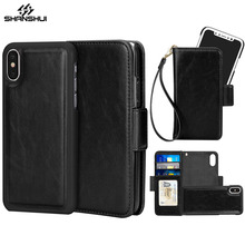 Detachable Leather Case for iPhone X 2in1 Magnetic Black Wallet High Quality Photo Frame 3 Card Slot Strap Handbag Phone Bag(China)