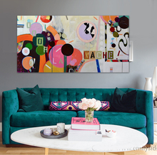 modern abstract oil painting  pink circle pop art office sepia original canvas wall art home decor quadros  Long painting