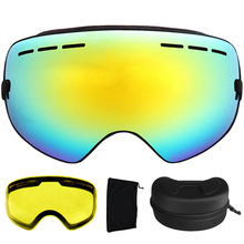 Ski Goggles Anti-fog UV400 Spherical Ski Glasses Ski Snowboard Goggles Double Lens Ski Eyewear With Extra Lens and Box
