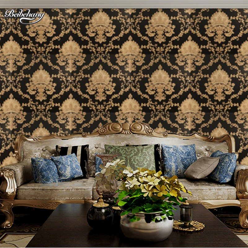 beibehang and white classic home decoration TV background wallpaper vinyl method PVC wallpaper brocade roll living room peint<br>