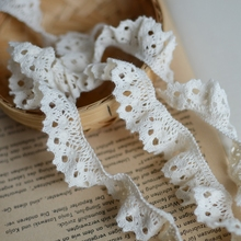 1/meter Beige cotton stretch cotton lace , handmade , curtain accessories