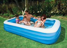 inflatable 3 ring summer big size 305*183*56cm rectangular blue white above ground poo AGP family swimming pool adult play pool