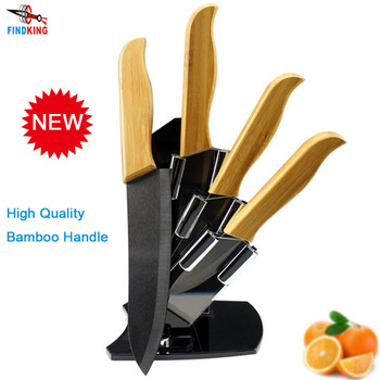 """FINDKING Brand High sharp quality Bamboo handle with black blade Ceramic Knife Set  3"""" 4"""" 5"""" 6 """" inch+Holder/Stand"""