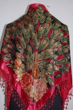New Fashion Red Women's Velvet Silk Shawl Beaded Embroidery Triangle Scarf Peacock Pattern Pashmina Size 165 x 76 x 76cm WS005