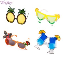 FENGRISE Pineapple Lemon Fruit Summer Flamingo Party Glasses Bride to Be Hawaiian Carnival Party Sunglasses Decoration Supplies(China)