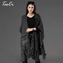 Autumn Winter New Fashion Fringe Women's  Cape Poncho Knit Loose Top Cardigan Sweater Coat Hip Scarf Shawl