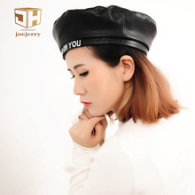 Joejerry Fashion Felt Pu Leather Beret Hat Women Cap Female Ladies Beanie Beret Girls For Spring And Autumn(China)