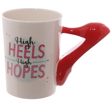 Free Shipping 1Piece Ladies High Heels Stiletto Shoe 3D Handle Mug High Heels High Hopes Coffee Mug Cup Gift For Fashionista(China)