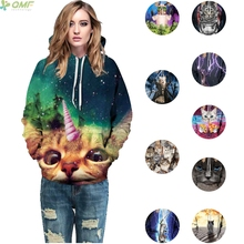 Galaxy Cat Sweatshirts Pullovers Fashion Women Hooded Tops Space Kitty Couples Hoody Hip Hop Hipster Hoodies Outerwear Unisex