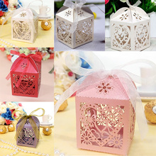50pcs/pack Love Heart Laser Cut Gift Candy Boxes Wedding Party Favor With Ribbon #88331