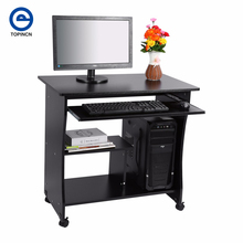Move Desktop/Laptop/PC Desk Student Learning Writing Assemble Desk Computer Table Wooden Laptop Desk With Casters 80*49.5*76CM(China)