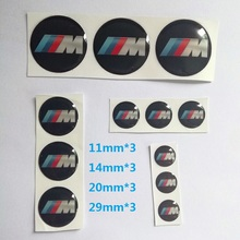 12 PCS/SET 11MM 14MM 20MM 29MM Key Fob Emblem Badge Radio Button Steeringwheel Wheel Center Cover Sticker For BMW M Performance