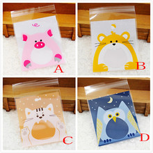 10cmx10cm 100 Pcs Self-adhesive Cute Small Biscuit Plastic Gift Food Packing Birthday Bag Wholesale Free Shipping 30RI24(China)